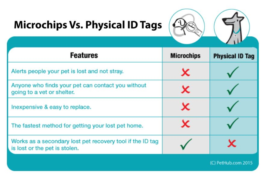 The difference between microchips and physical pet IDs
